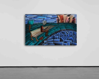 Salonica by Cesar Vazquez   Cubism   Fisherman   Sea Stone   3D painting   Surrealism   Oil Painting   Abstract Art   Canvas Painting   Art