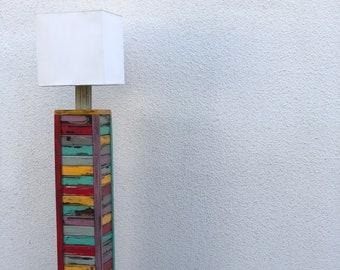 Colourful Tall Amazing Floor Lamp   All wood Design   Modern   Unique Art Piece   Boho   Vintage   Creative Lamp   Beautiful Art   Stylish