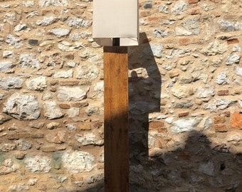 Classy Natural Wood Floor Lamp   Natural Linen Shade   Elegant   Minimal Design   Home Deco   Sophisticated Furniture   Scandi Design   Art