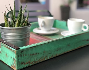 Turquoise Deep Tray   Fruit Basket   Coffee Serving   Distressed   Unique   Happy   Country Side  Stylish   Mother Gift Ideas   Women Day  