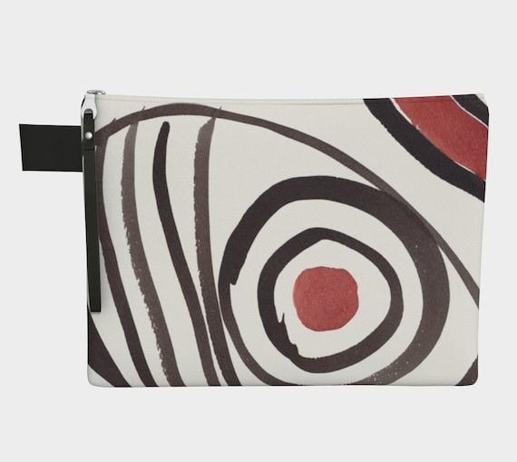 Goose Eye zipper carry-all, fashion clutch,  purcse, gadget bag, Ukrainian, Pysanka,  Trypilian, Abstract, Black & Brown, Neolithic Potter