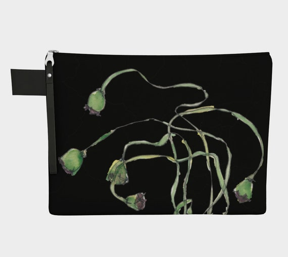 Green Poppy Seed Pods, black background, clutch, zipper carry all, purse, gadget bag, watercolour, botanical illustration, modern, dramatic
