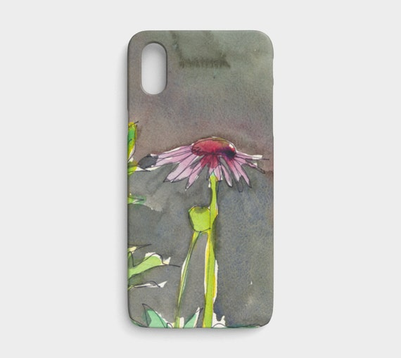 Pink & red coneflower iphone X/ XS device case, art phone case, watercolor phone case, floral phone case, modern, art to go