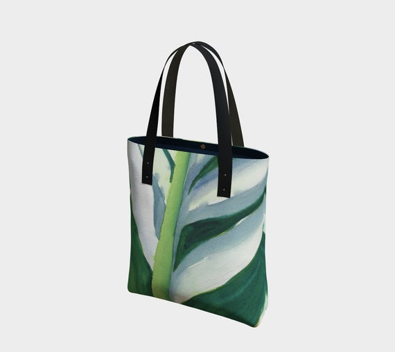 Variegated Leaf tote bag, tropical, exotic, modern, watercolour