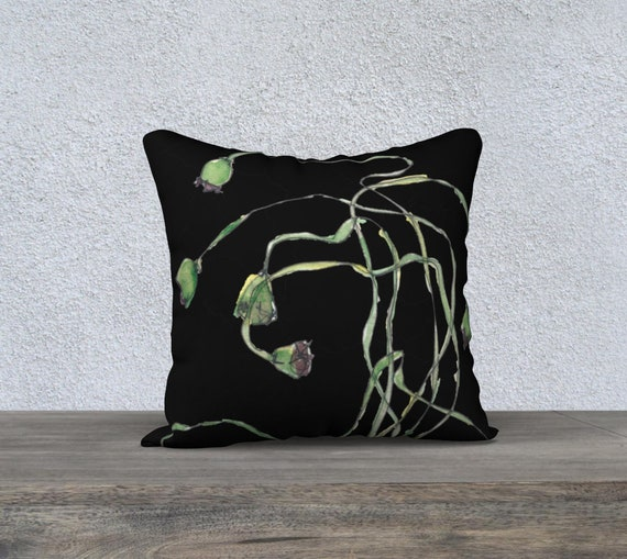 Poppy Seed Pods - Black, art pillow cover, decorative pillow cover, modern decor, modern Ukrainian, modern Polish, dramatic