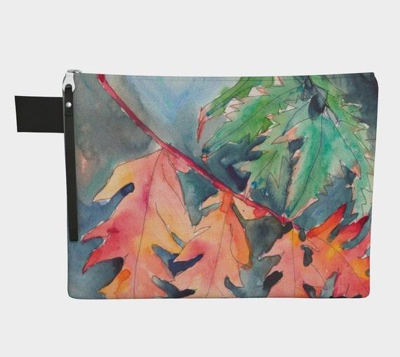 Orange Leaves Clutch, Zipper Carry All, gadget bag, purse, Modern, Watercolour,  Navy, bold, fun