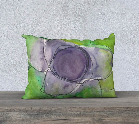 Slime Green and Purple decorative pillow cover, accent pillow, art pillow, fun, young, modern, bromeliad, lime green, botanical, watercolor