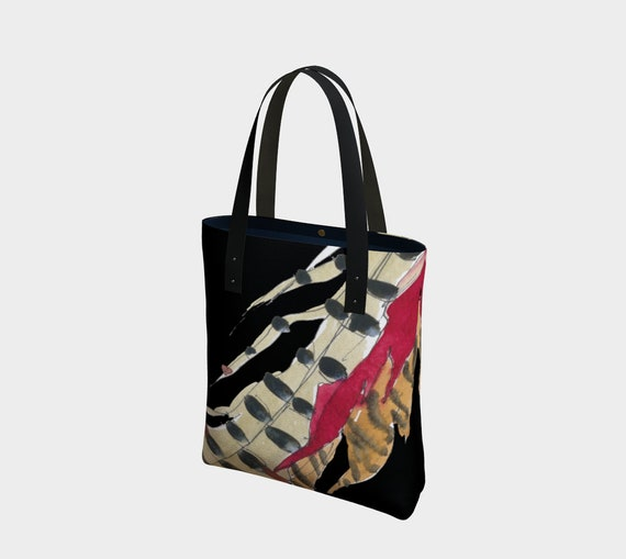 Red and Brown Feathers with Black, modern tote bag, statement bag, art to go, watercolour