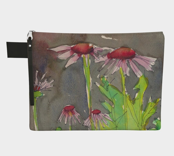 Pink & Red coneflower clutch, zipper carry all, gadget bag, watercolour, Coal Harbour, Vancouver