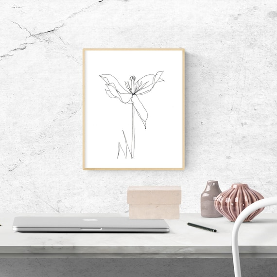The Regent's Park Tulip #1, floral art print, nature, minimalist, flower, archival print, botanical art, giclee on paper, contemporary art