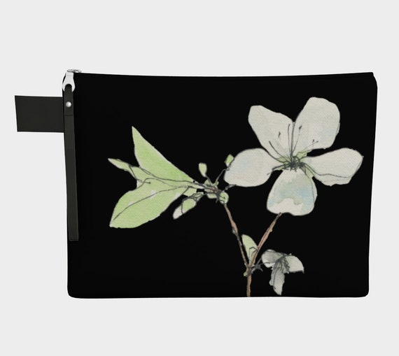 White Spring Blossoms Clutch, Zipper Carry all, statement bag, dramatic, sophisticated, bridesmaid gift, shower gift, shipping included
