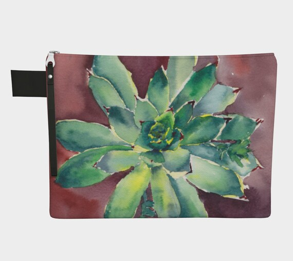 Hens & Chicks Clutch, Zipper Carry-all, purse, gadget bag, Green, Terracotta, Watercolour, Succulents