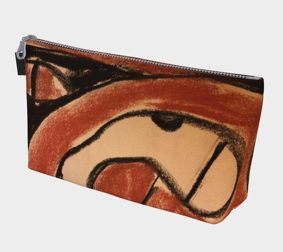 Trypillian Snake Cosmetic Bag, Toiletry Bag, Makeup Bag, Ukrainian, Modern, Abstract, Terracotta, Pysanka, Goddess
