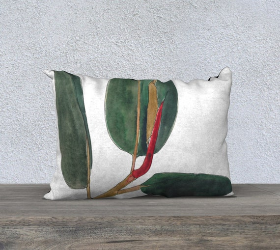Dark Green Rubber Plant White background rectangle pillow cover, art pillow, accent pillow, botanical illustration, watercolor, bold