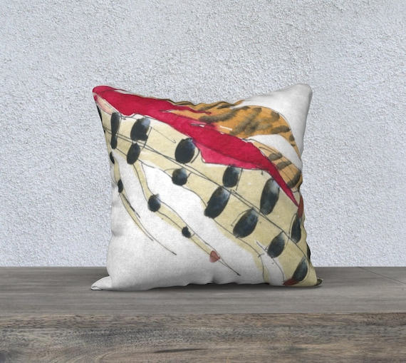 Red Feather, Decorative Pillow Cover, Modern Accent Pillow, Art Pillow, Modern Home Decor, Abstract, Fall, Autumn