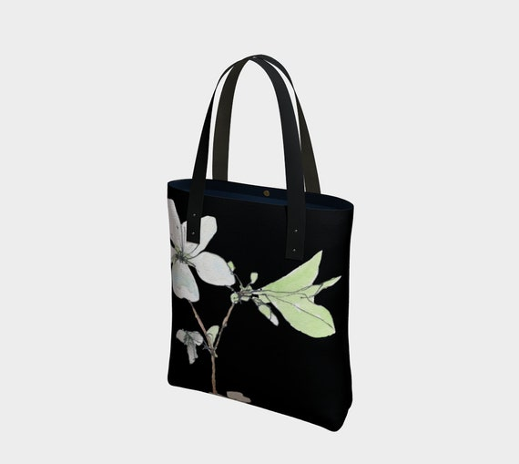 White blossoms bag, spring blossoms, dramatic, black and white, sophisticated, watercolour