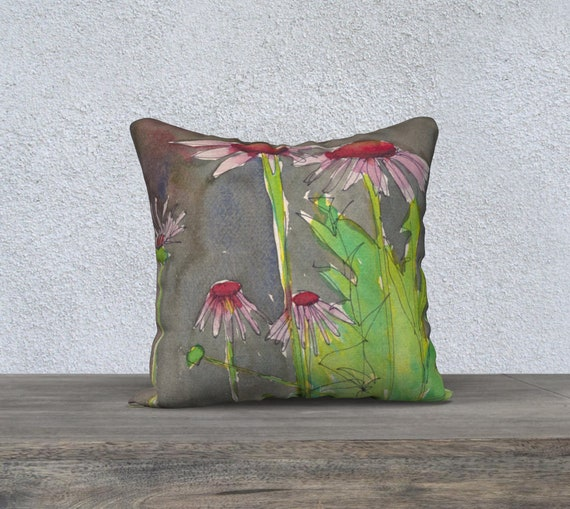 Red and pink Coneflowers, Echinacea, accent pillow cover, gray background, art pillow, watercolour