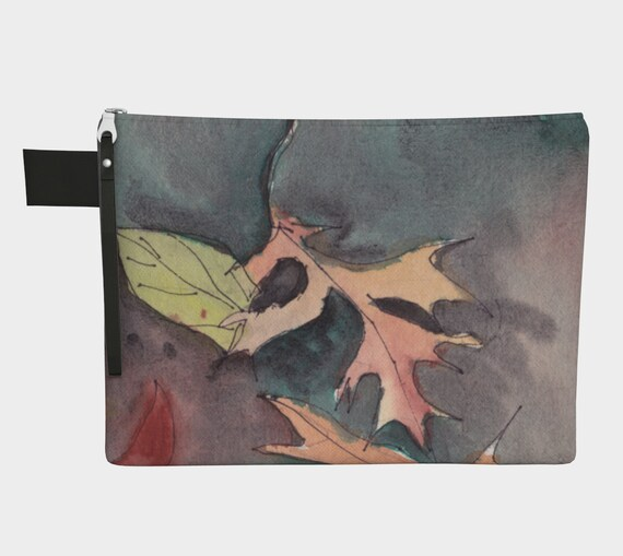Autumn Leaves zipper carry-all, Fall, Watercolour, Central Park, New York City, modern