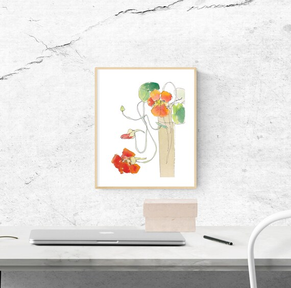 Nasty Nasturtium floral art print, nature, flower, watercolour, ink, archival print, botanical art, giclee on paper, contemporary wall art