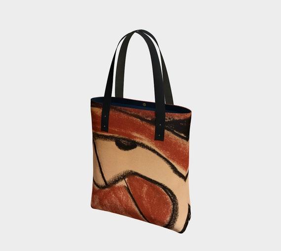 Trypillian Snake bag, Ukrainian, Pysanka, Trypillian, abstract, terracotta, black and brown, neolithic pottery