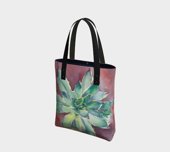 Hen & Chicks tote bag, succulents, terracotta, watercolour, plants