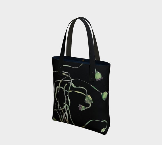 Poppy Seed Pods and Black tote bag, watercolour, botanical, art bag, statement tote, Modern Ukrainian, Modern Polish