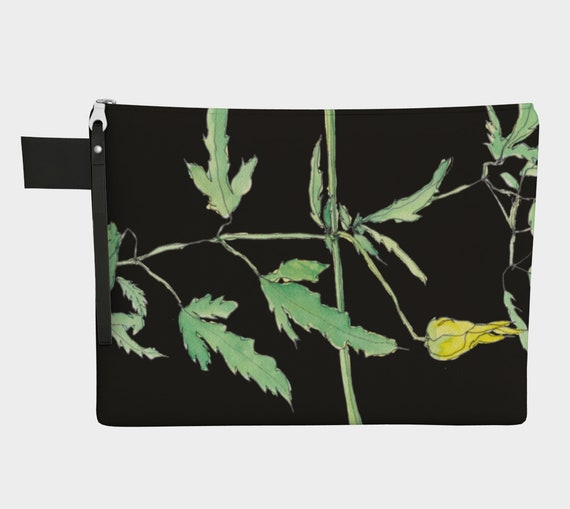 Yellow Clematis with green leaves and black background clutch, zipper carry all, purse, gadget bag, watercolor, botanical illustration,