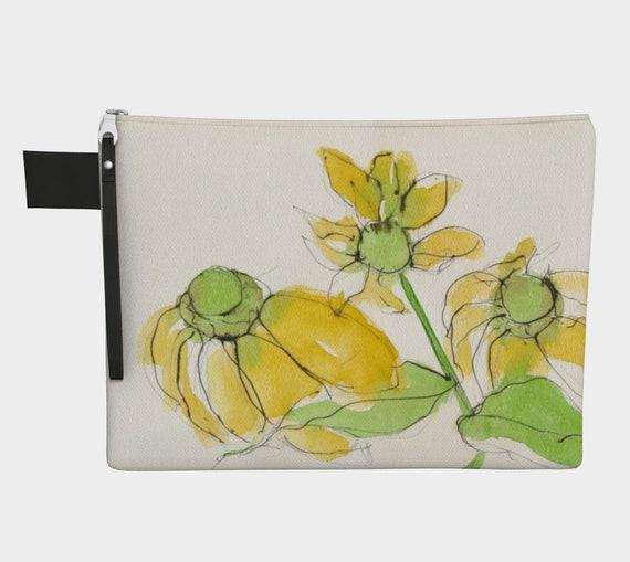 Yellow flower clutch, Zipper Carry all, purse, gadget bag, statement bag, botanical, watercolour, fashion