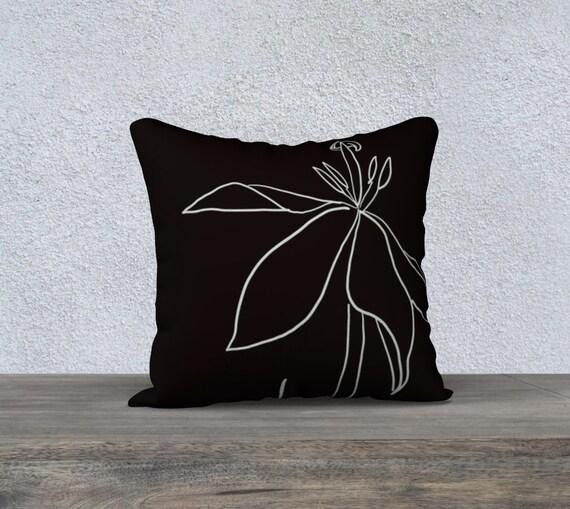 Regent's Park Tulip #2 pillow cover, Black & White Art Pillow, sophisticated, minimalist, line art, floral, botanical illustration, modern