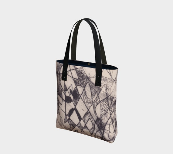 Florentine Lines Bag, tote, black and beige, off-white, tan, sophisticated, art bag, statement bag, abstract, geometric