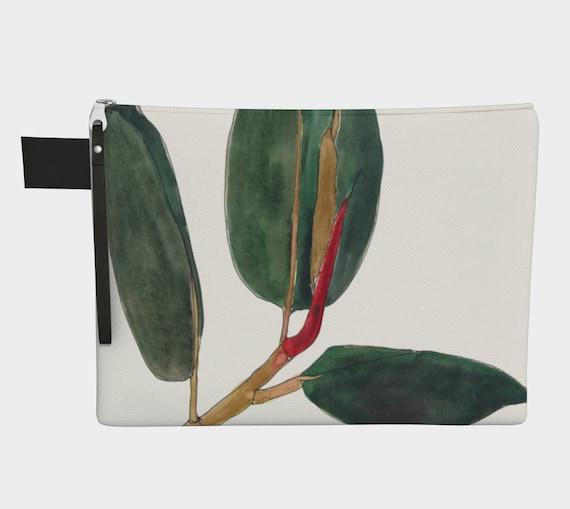 Ficus Elastica white background, rubber plant, clutch, zipper carry all, purse, art to go, botanical illustration, water-colour, gadget bag