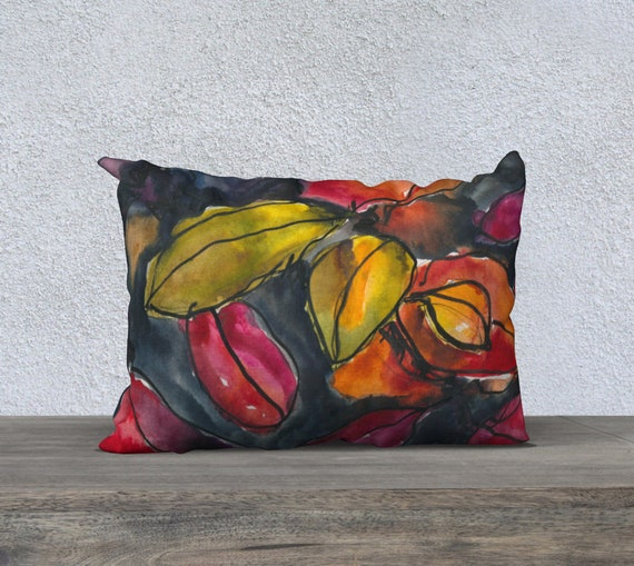 Colourful Fall Cotoneaster leaves, Autumn foliage, burnt orange, pink yellow, navy, black, watercolor, art pillow cover, accent, botanical