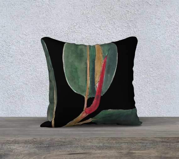 Dark Green Rubber Plant Black Background Square decorative pillow cover, accent pillow, botanical, watercolor, tropical, ficus