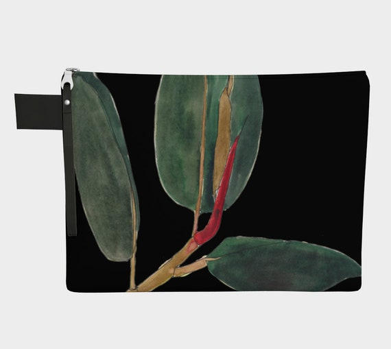 Ficus Elastica with black background, Rubber Plant, clutch, zipper carry all, gadget bag, statement bag, art to go, water-colour, botanical