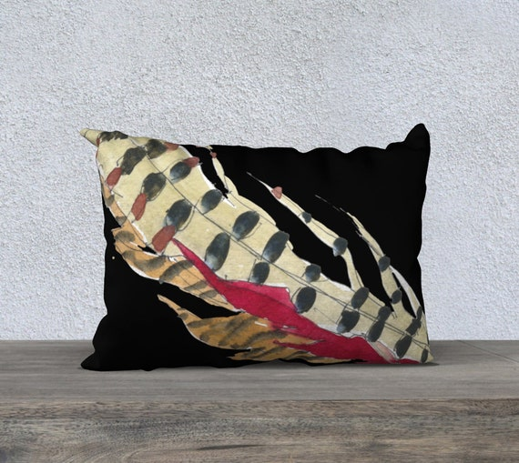 Red Feathers & Black Pillow cover, modern accent pillow cover, art pillow cover, modern home decor, dramatic