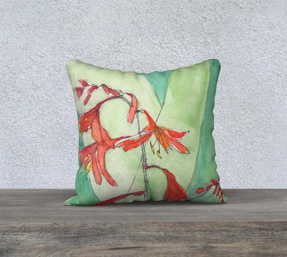 Vancouver Orange and Green, decorative pillow cover, modern decor, watercolor