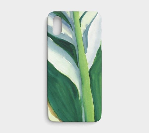 Variegated Green Leaf iPhone X / XS, art to go device case, art phone case, modern watercolour, tropical watercolor, bold
