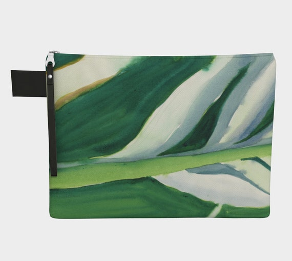 Fresh Green Variegated Leaves clutch, Zipper Carry-all,  gadget bag, tropical, vacation, exotic, modern,  Abstract Watercolour