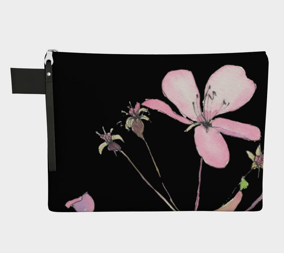 Pink  Blossoms with black Clutch, Zipper Carry all, statement bag, dramatic, sophisticated, bridesmaid gift, shower gift, gadget bag