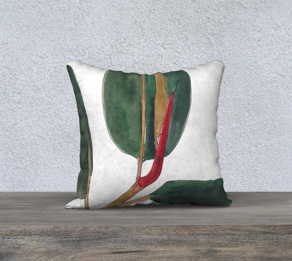 Rubber Plant White  background Square pillow cover, art pillow, accent pillow, statement, dark green, sophisticated