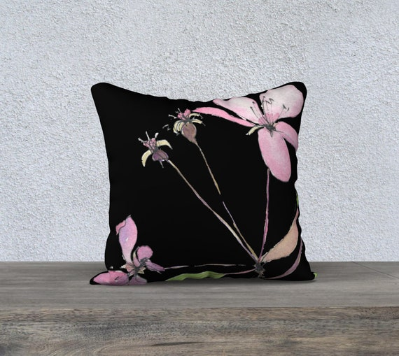 Spring Blossoms Pink, decorative pillow cover, modern decor, damatic