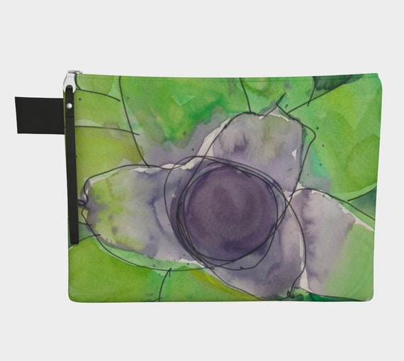 Green & Purple clutch, Zipper Carry-All, gadget bag, bromeliad, exotic, modern, watercolour, slime green, abstract watercolour, tropical