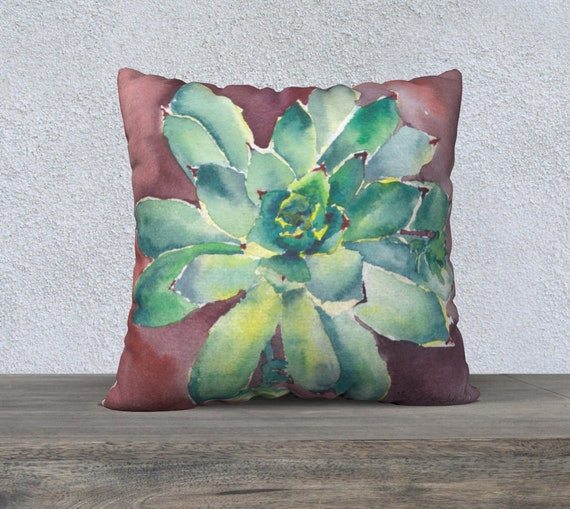 Hens and Chicks, Large Floor Pillow, Decorative Pillow Cover, Accent Pillow, Floor Pillow, Succulent, Modern Home Decor, Modern Watercolour