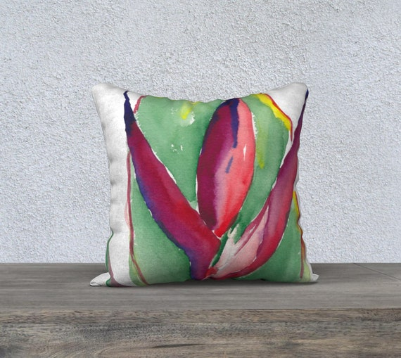 Red Heliconia, Decorative Pillow Cover, Modern Decor, Watercolour, Tropical, Exotic