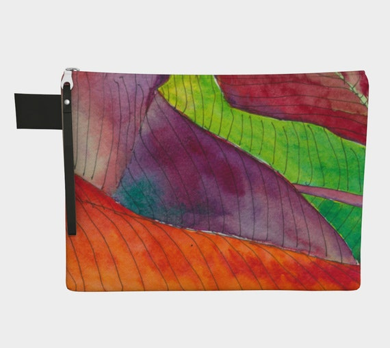 Colourful Leaf Abstraction Clutch, Zipper Carry All, gadget bag, modern, abstract, bright, bold, fun, botanical illustration, leaf, foliage