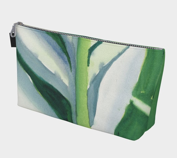Green Leaf cosmetic bag, toiletry bag, tropical, vacation, exotic, modern, Abstract, Watercolour