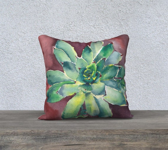 Hen & Chicks (Small Size), Decorative Pillow Cover, Succulents, Modern Decor, Watercolour