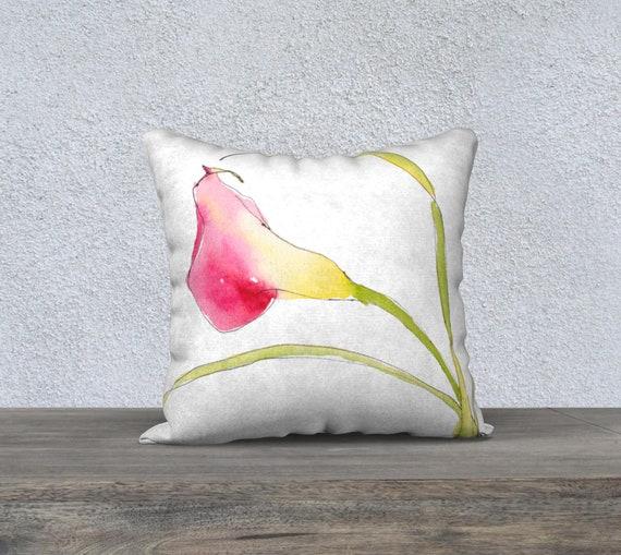Red & Yellow Calla, Tropical Pillow Cover, Decorative Pillow Cover, Modern Home Decor, Watercolour, Exotic