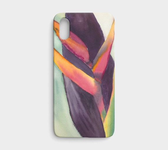 Heliconia & Leaf iphone X/XS, watercolor phone cover, art phone case, colourful, floral, modern, tropical, exotic, art to go