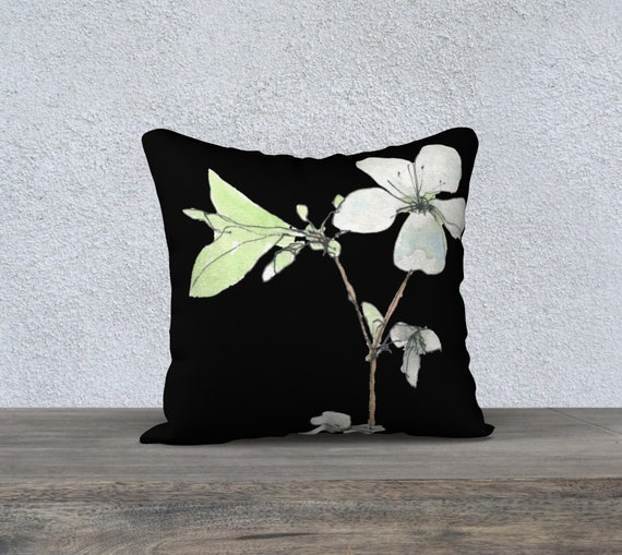 White Blossoms with black background, decorative pillow cover, art pillow, modern, dramatic, floral, watercolor, white, green and black